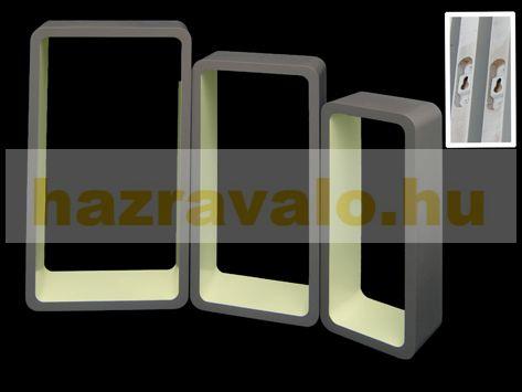Fali polc 3 részes polckészlet téglaforma MDF anyagból grei and white retro stílus szürke színben fehér belsővel