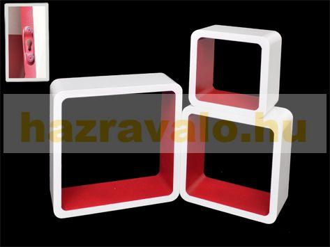 Polc 3 részes polckészlet MDF anyagból white and red retro stílus fehér piros színben