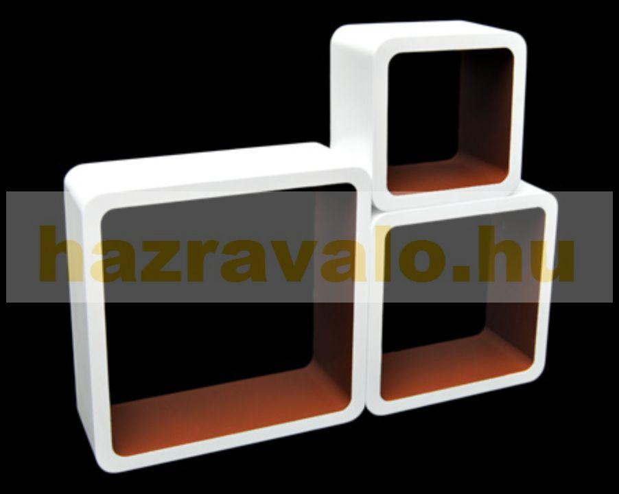 Polc 3 részes polckészlet MDF anyagból retro stílus barna-fehér