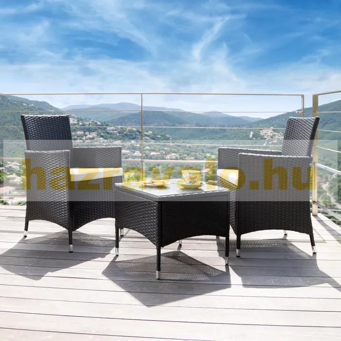Rattan kerti ülőgarnitúra alumínium vázas garnitúra 2 szék, 1 asztal üveglappal, cserélhető párnahuzattal