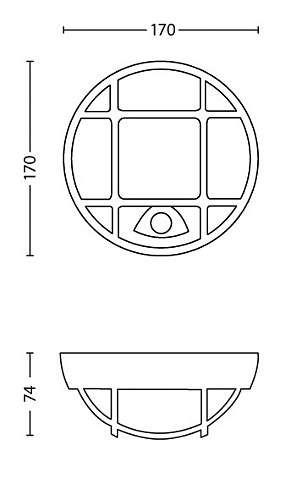 Philips 173193016 Eagle kültéri fali lámpa (fekete) 1x3.5W 230V mozgásérzékelős