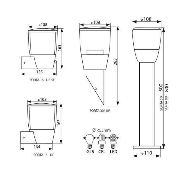 KANLUX SORTA 80 lámpa E27 állólámpa kültéri