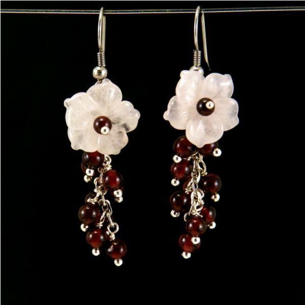 Rózsakvarc virág fülbevaló #8