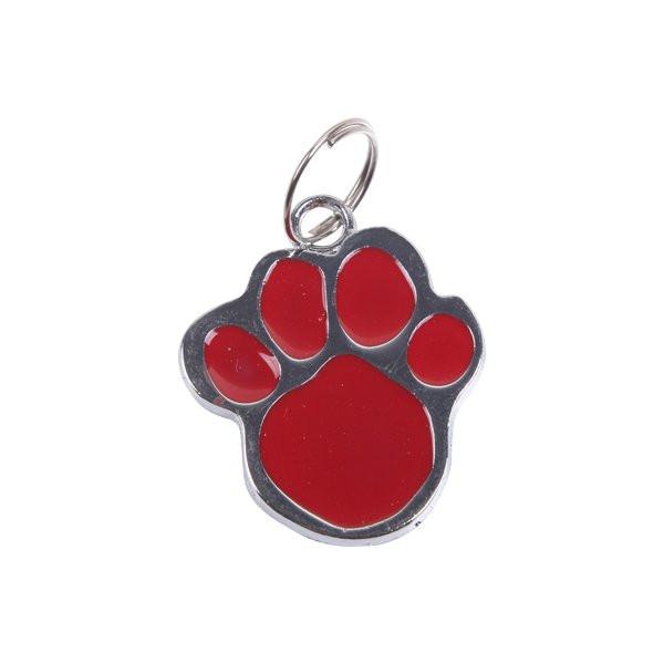 Piros biléta kutyáknak, cicáknak tappancs formában, D 2.6cm