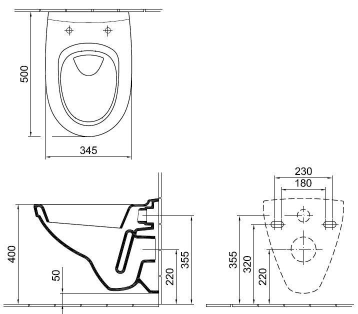 ALFÖLDI MELINA fehér fali wc csésze Easyplus bevonattal, 5530 59 R1 / 553059R1