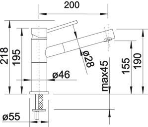 BLANCOALTA / BLANCO ALTA-S Compact jázmin színű Silgranit / gránit-króm HD álló egykaros konyhai mosogató csaptelep kihúzható fejjel, 515328