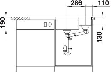 BLANCOAXIA / BLANCO AXIA III 6 S tartufo színű PuraDur Silgránit jobbos mosogatótálca / gránit beépíthető mosogató / üveg tartozékkal / excenterrel, 523480