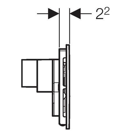 Geberit Sigma40 szagelszívó működtető egység / nyomólap ventilátorral, fehér üveg-alumínium, 115.600.SI.1 / 115600SI1, Duofresh beépíthető wc tartályhoz