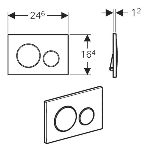 Geberit Sigma20 nyomólap két mennyiségű / 2 vízmennyiségű fényes króm / matt króm / fényes króm, UP320, 115.882.KH.1 /115882KH1