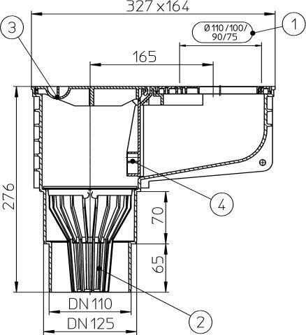 HL660/2 Minimax esővíz süllyesztőszekrény DN110/125 lombfogó kosárral, d 75-110mm illesztő gyűrűkkel és mechanikus bűzzárral