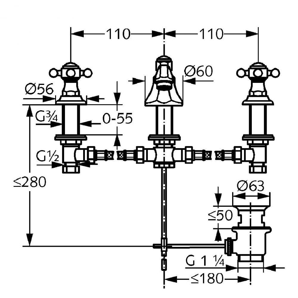 KLUDI ADLON mosdócsaptelep NA15, 145 mm, aranyozott, 23 karátos, 510464520 / 5104645-20 / 51046-45-20