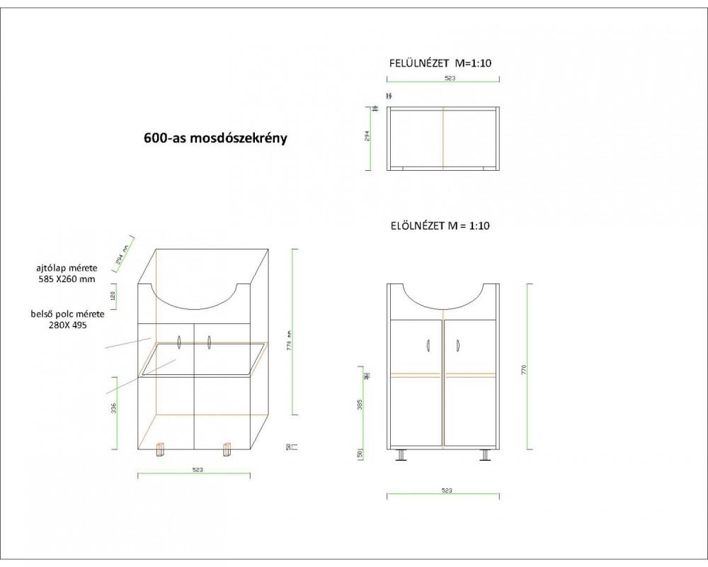 LIBRA 600 fürdőszobai lábon álló szekrény, alsó bútor, 2 / két ajtós, polcos, beépített Cersanit mosdóval, fehér, 600 x 850 x 450 mm, Készre szerelt!