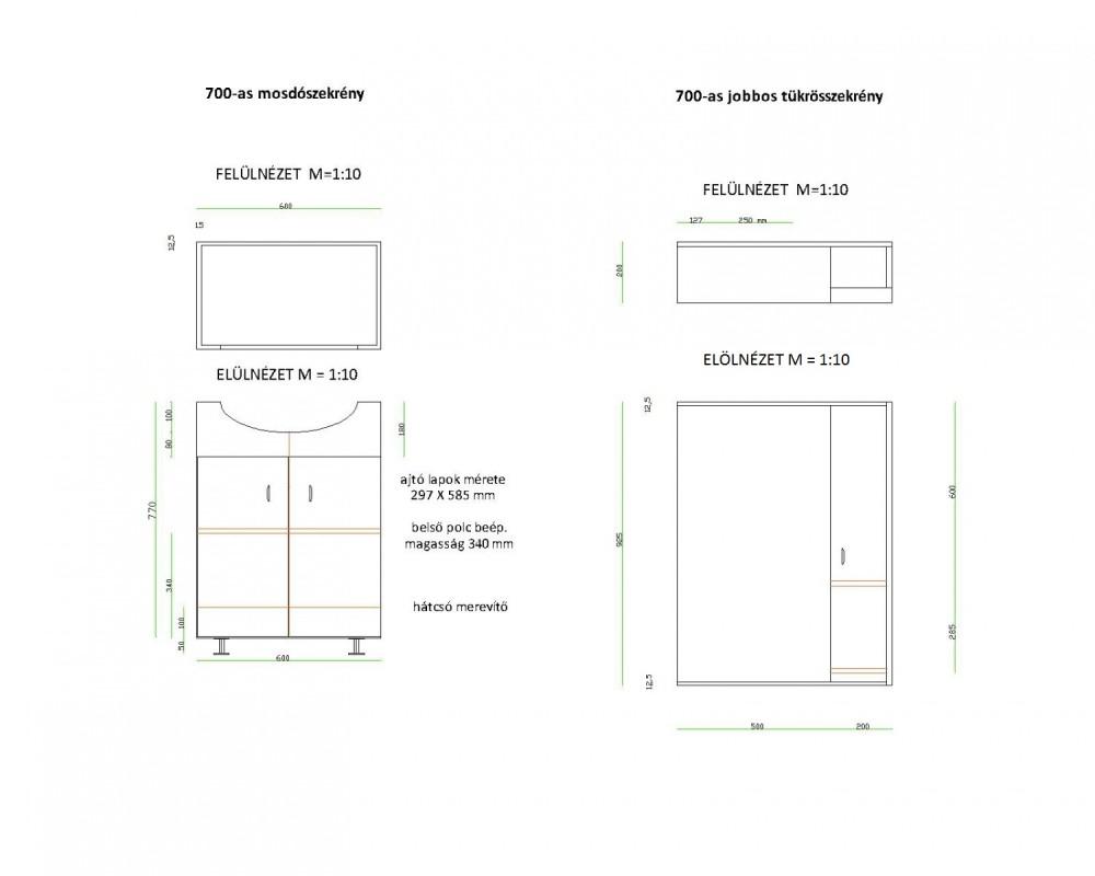 LIBRA 700 fürdőszobai lábon álló szekrény, alsó bútor, 2 / két ajtós, polcos, beépített Cersanit mosdóval, fehér, 700 x 850 x 510 mm, Készre szerelt!