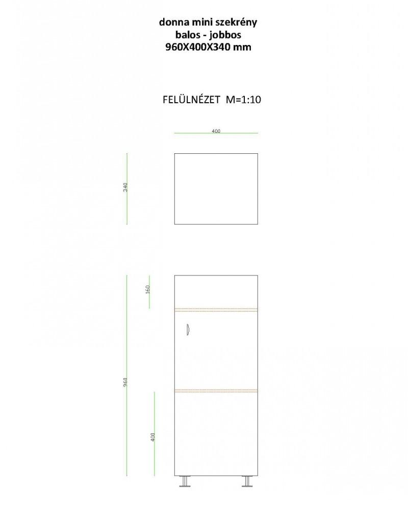 LIBRA DONNA MINI fürdőszobai álló kis szekrény, alsó bútor, egy ajtós, egy fiókos, jobb / jobbos, bal / balos, 400 x 960 x 340 mm, Készre szerelt!