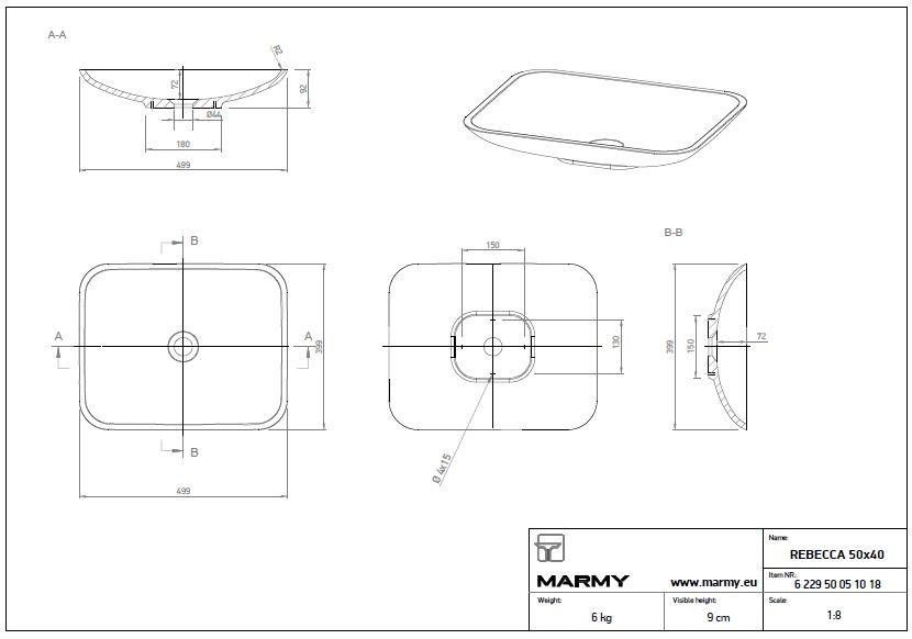 Marmy REBECCA 50x40 cm szögletes alakú, lekerekített sarkú mosdó, bútorra, pultra tehető, ültethető, öntött márvány, túlfolyó és csapfurat nélkül, fehér / 6 121 49 05 10 18 / 612149051018