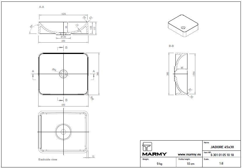 Marmy JADORE 45x38 cm szögletes alakú, lekerekített sarkú mosdó, bútorra, pultra tehető, ültethető, öntött márvány, túlfolyó és csapfurat nélkül, fehér / 6 229 30 05 10 18 / 622930051018