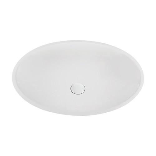 Marmy DOLCE 58x42 cm design, ovális mosdó, bútorra, pultra tehető, ültethető, öntött márvány, túlfolyó és csapfurat nélkül, fehér / 80 6702 06 10 10 / 806702061010