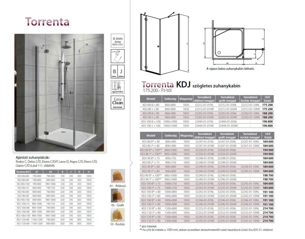 RADAWAY Torrenta KDJ 100 B* × 80 szögletes zuhanykabin 1000x800x1850 mm / bal, balos / 05 grafit üveg / 32242-01-05NL