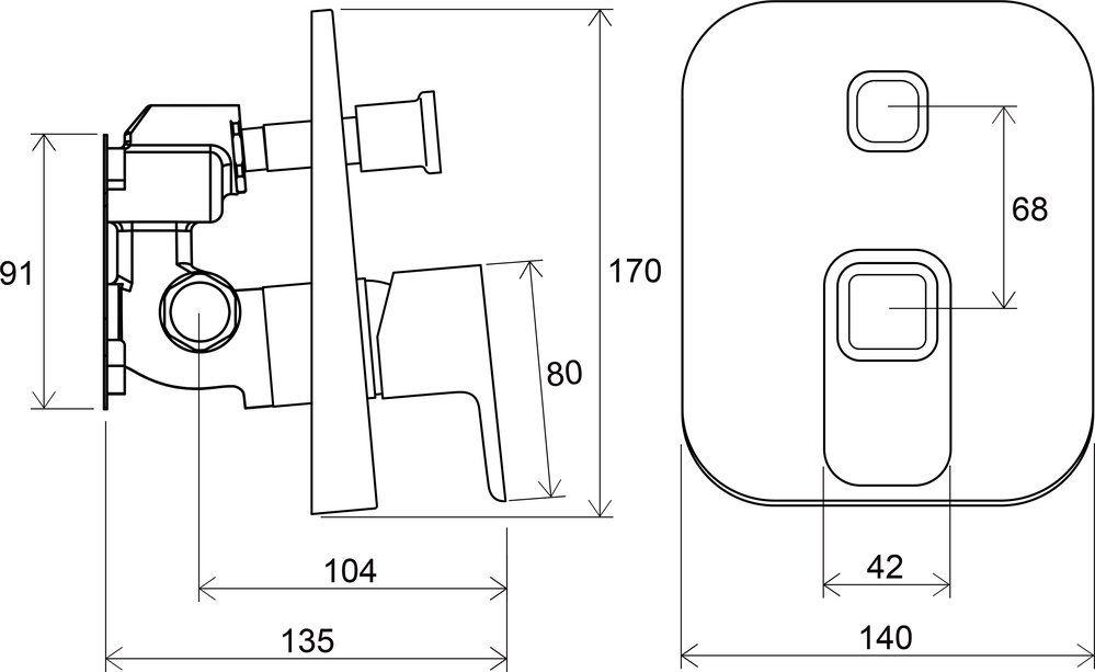 RAVAK TD 065.00, 10° falba süllyesztett csaptelep váltóval, R-boxhoz, X070070