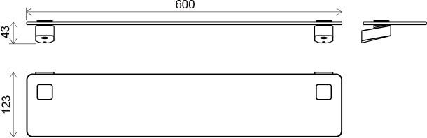 RAVAK TD 500.00 Üvegpolc 60 cm, X07P332