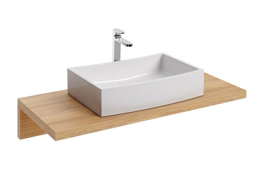 RAVAK Formy 02 600 D mosdó, szögletes, modern, túlfolyó nélkül, 60 x 41 cm-es / 600 x 410 mm-es, fehér, XJM01260000