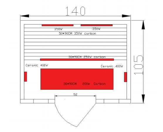 Sanotechnik Calipso infrakabin / infra szauna, háromszemélyes / 3 személyes, 140x105x190 cm, Hemlock fenyő, H30310