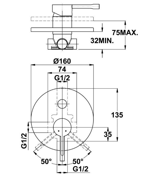TEKA Alaior XL süllyesztett kádtöltő csaptelep, 55.171.02.00 / 551710200 / 551710200-H