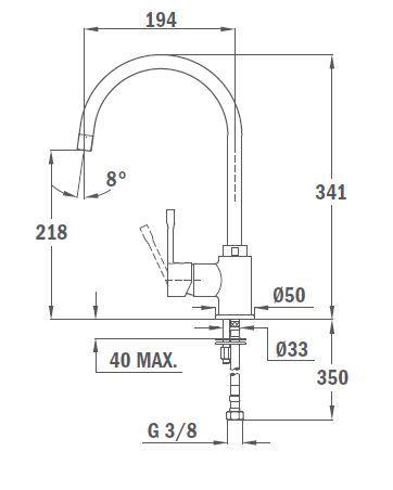 TEKA Sp 995 álló mosogató csaptelep, forgatható kifolyócső, vízkőmentes perlátor, magas ellenállóképességű és ujjlenyomatmentes festett felület, amber szín, 55.995.02.0SB / 55995020SB
