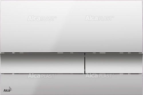 AlcaPLAST M1722 Kétöblítéses nyomólap falba építhető tartályhoz, falsík alatti rendszerhez, Króm Matt