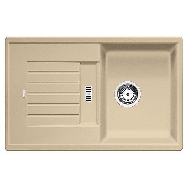 BLANCOZIA / BLANCO ZIA 45S Silgranit PuraDur II pezsgő színű egymedencés gránit mosogatótálca / csepptálcás gránit beépíthető mosogató, excenter nélkül, 514728