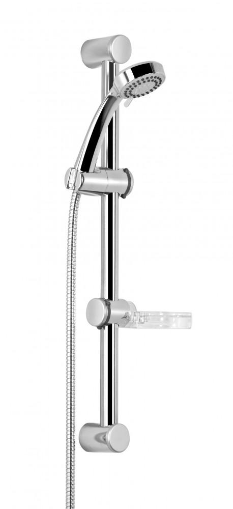 Deante Neo Easy fali sínes / zuhanyrúd, zuhanyszett, kerek zuhanyfejjel, gégecsővel, szappantartóval, króm, NEE 051K