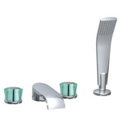 KLUDI JOOP! álló kádtöltő csaptelep, kád-zuhany csaptelep, csempeperemre szerelhető, króm / zöld üveg 55425H705 / 55425H7-05 / 55425-H7-05