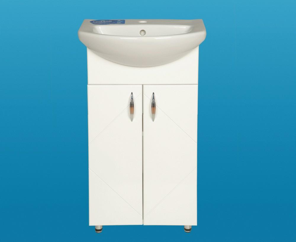 LIBRA 500 fürdőszobai lábon álló szekrény, alsó bútor, 2 / két ajtós, polcos, beépített Cersanit mosdóval, fehér, 500 x 850 x 395 mm, Készre szerelt!