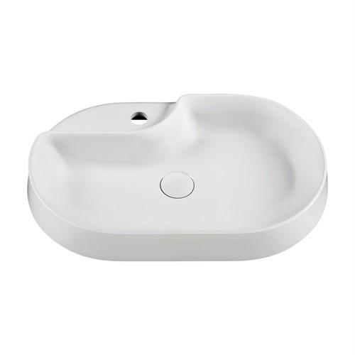 Marmy ISLAND 60x38 cm kerek, kör alakú mosdó, bútorra, pultra tehető, ültethető, öntött márvány, fehér / 6 229 33 06 11 18 / 622933061118