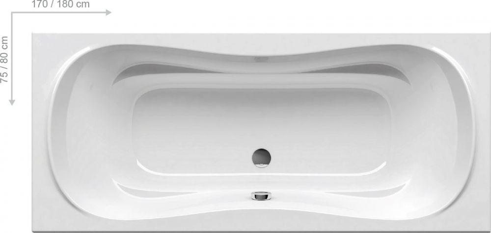 RAVAK Campanula II, szögletes, fehér, akrilkád / kád, 180x80 cm-es, CB21000000