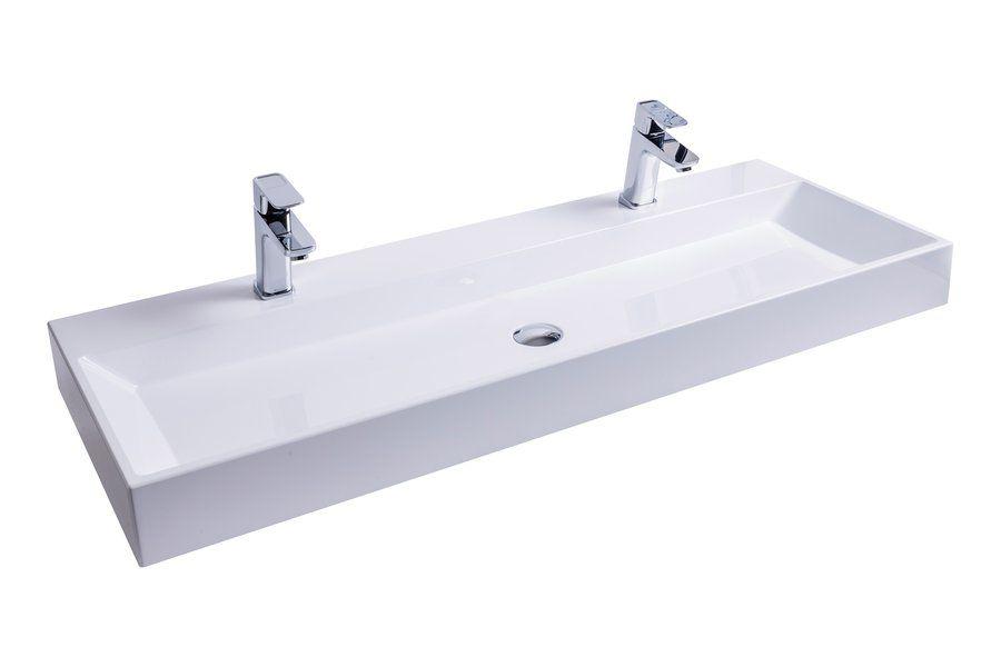 RAVAK Natural Duo 1200 duplamosdó / dupla mosdó, nyílással / furattal, 1200x450 mm-es / 120x45 cm-es, fehér, XJO01212000