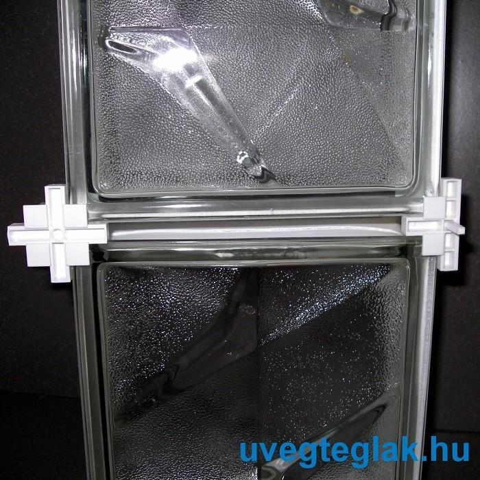 Üvegtégla fugakereszt állítható T idom 65-95x10mm újrahasználható
