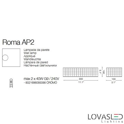 Ideal Lux Roma AP2 oldalfali lámpa