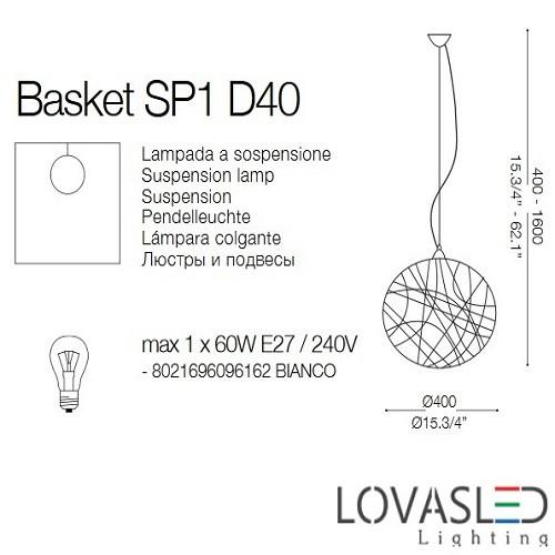 Ideal Lux Basket SP1 D40 függeszték