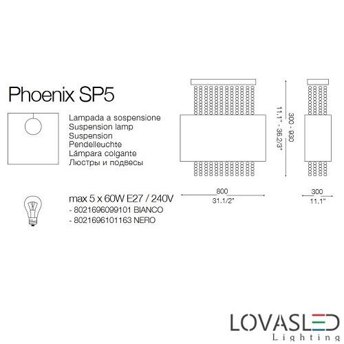 Ideal Lux Phoenix SP5 Nero függeszték