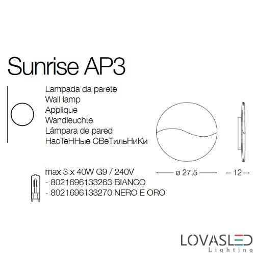 Ideal Lux Sunrise AP3 oldalfali lámpa