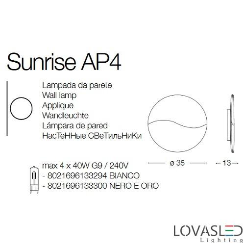 Ideal Lux Sunrise AP4 oldalfali lámpa