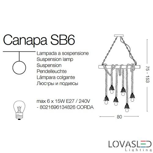 Ideal Lux Canapa SP6 függeszték