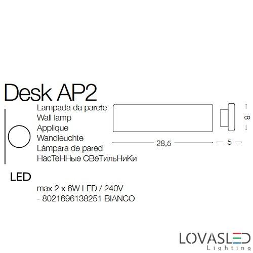 Ideal Lux Desk AP2 oldalfali lámpa