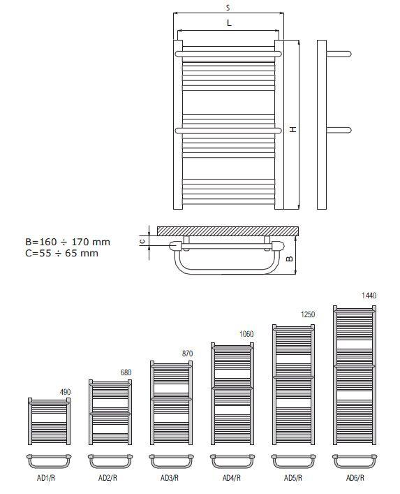 Radeco AD1-600/R törölközőszárítós csőradiátor, 490x650 mm